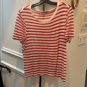 T by Alexander Wang red and white strip tee